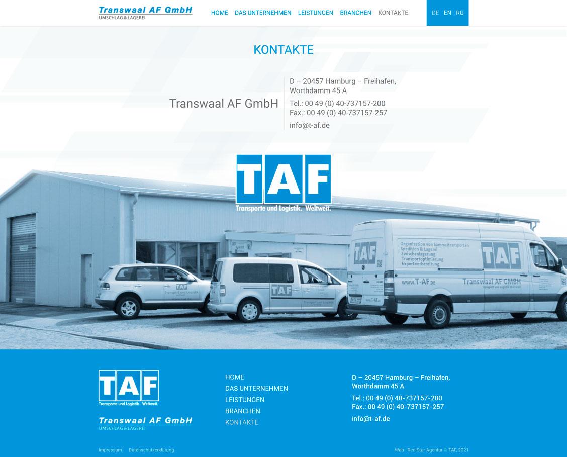 Сторінка контактів TAF
